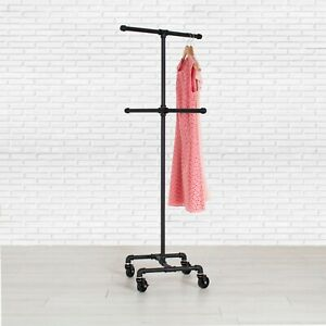 Industrial Pipe 4 way Rolling Clothing Rack By William Robert s Vintage