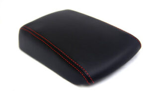 Armrest Center Console Leather Synthetic Cover For Mazda 3 03 08 Red Stitch