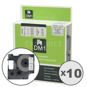 10pk Black On Clear Tape Label Compatible For Dymo 45800 D1 19mm 3 4
