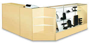Combo Pos 48 Showcase 48 Wrap Counter 24 Register Stand Maple Knockdown New