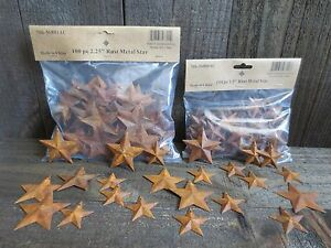 200 Pc Lot Rusty Stars 100 Ea 1 5 2 25 Primtive Country Metal Barn Rusted