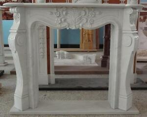 White Marble Fireplace Mantel With Classic French Design 3715