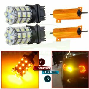 2pcs 3157 60smd Dual Color Switchback White Amber Turn Signal Led Light Bulbs