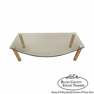 Contemporary Modern Design Glass Top Coffee Table W Brushed Brass Cylinder Legs