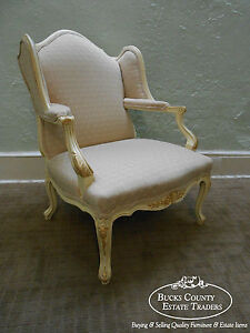 Custom Wide Seat French Louis Xv Wing Chair Fauteuil