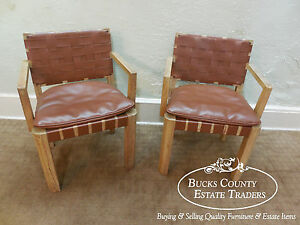 Rustic Texas Cypress Pair Of Ranch Oak Arm Chairs W Woven Naugahyde