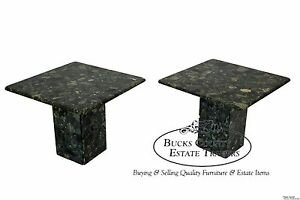 Mid Century Modern Pair Of Green Italian Marble Pedestal End Tables