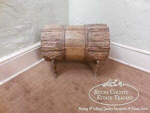 Unusual Vintage Rustic Log Formed Lidded Chest