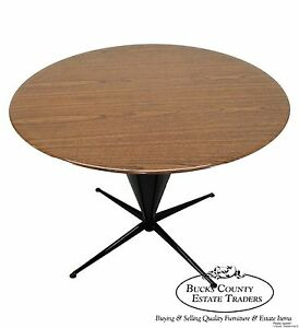 Mid Century Modern Round Top Cone Shape Pedestal Dining Table