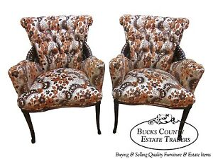 Unusual Pair Of Mahogany Tufted Fire Side Wing Chairs