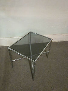 Hollywood Regency Chrome Smoked Glass Side Table