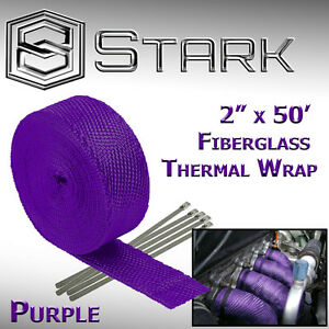 2 X 50ft Exhaust Header Fiberglass Heat Wrap Tape W 5 Steel Ties Purple G