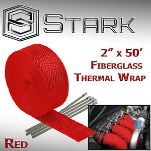2 X 50ft Exhaust Header Fiberglass Heat Wrap Tape W 5 Steel Ties Kit Red C