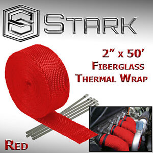 2 X 50ft Exhaust Header Fiberglass Heat Wrap Tape W 5 Steel Ties Kit Red F