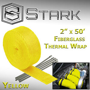 2 X 50ft Exhaust Header Fiberglass Heat Wrap Tape W 5 Steel Ties Yellow i