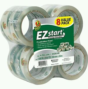Duck Ez Start Acrylic Shipping Tape Lot Of 8 Pack 436 Yds 400 M Best Deal