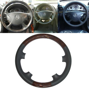 Gray Leather Wood Steering Wheel Cover Cap For 02 05 Mercedes Benz W211 E Class