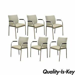 6 Keilhauer Flit 3813 Modern Chrome Dining Office Stacking Floating Arm Chairs