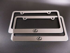 2 Brand New Lexus Logo Chrome Metal License Plate Frame