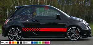 Stickers Decal For Fiat 500 Abarth Stripes Lip Side Carbon Bumper Tune Racing