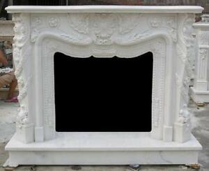 French Inspired Marble Fireplace Mantel And Surround Heavy Carvings