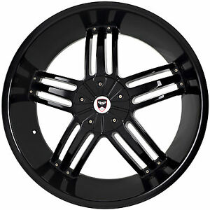 4 Gwg Wheels 24 Inch Black Spade Rims Fits 6x139 7 Et18 Chevy Tahoe 2007 2017