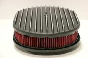 12 Black Oval Full Finned Polished Aluminum Red Washable Air Cleaner Filter Sbc