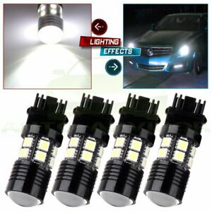 4x 3157 White 6000k Back Up Reverse Projector Cree 12 Smd Chip Led Lights Bulbs
