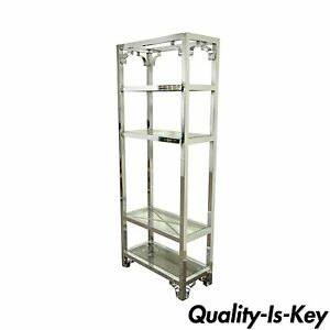76 Vintage Mid Century Modern Chrome Glass Etagere Bookcase After Milo Baughman