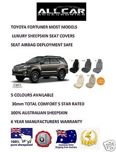 Sheepskin Car Seat Covers To Fit Toyota Fortuner 5 Colours Seat Airbag Safe