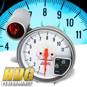 Universal Jdm Racing Led 7 Color 5 Tachometer Glow Gauge Shift Light White Face