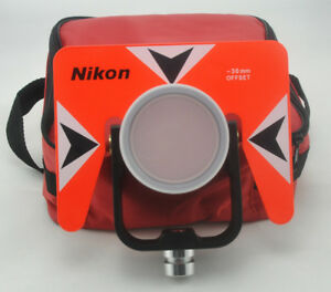 New Red Metal Single Prism With Soft Bag For Nikon Total Station Surveying