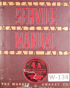 Warner Swasey 4a Turret Lathe M 1500 Lot 68 Service And Parts Manual 1941