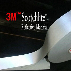 3m 8910 Hi Visibility Reflective Sew On Tape 25mm 50mm Silver Choose Length
