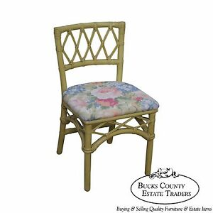 Ficks Reed Vintage Painted Rattan Side Chair