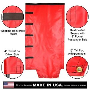 Side Roll Tarp With Tail Flap For End Dump Trailer Bed 18oz Waterproof Vinyl