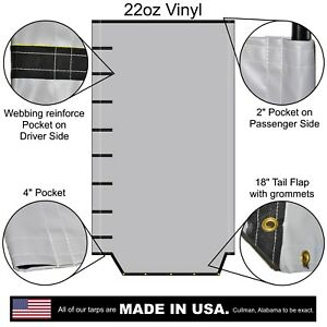 Side Roll Tarp With Tail Flap For End Dump Trailer Bed 22oz Waterproof Vinyl