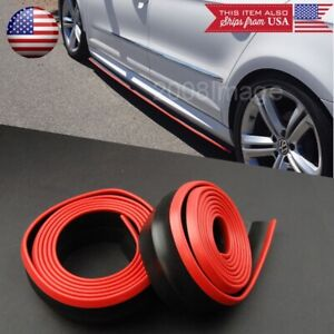 2 X 8ft Black W Red Trim Ez Fit Bottom Line Side Skirt Extension For Mini Rover