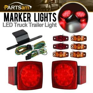 Submersible Truck Trailer Sq Led Light Kit Stop Turn Tail Marker Bracket