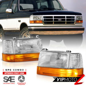 factory Style 6pc 1992 1996 Ford Bronco F150 F250 F350 Headlight Assembly