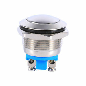 Silver 12v Waterproof Metal Circle Temporary Push Button Momentary Horn Switch