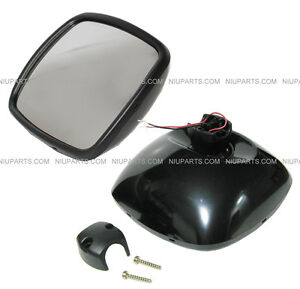 Freightliner M2 Columbia Rear View Wide Angle Mirror Black Heated Driver Side