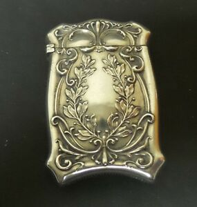 Sterling Silver Art Nouveau Decorative Match Safe Vesta Case 30 Grams