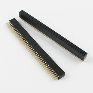 50pcs Gold Plated 1 27mm Pitch Double Row 2x40 Pin 80 Pin Female Header Strip