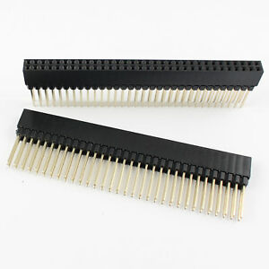 50pcs 2 54mm Pitch 2x32 Pin 64 Pin Female Double Row Long Pin Header Strip Pc104