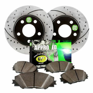 Front Kit Black Powder Coated Drilled Slotted Brake Rotors Ceramic Brake Pads