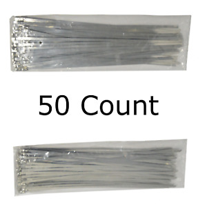 12 Qty 50 Stainless Steel Wire Zip Ties Industrial Strength Self Locking Band