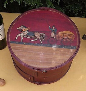 Antique German Pennsylvania Decorated Banded Wooden Brides Box Folk Art Round