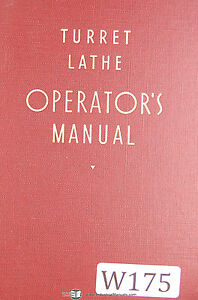 Warner Swasey Turret Lathe Operator Manual Year 1940