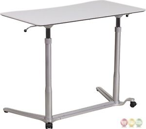 Sit down Stand up Light Gray Computer Desk W 37 5 w Top
